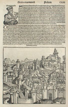 Tivoli, Italy in the Liber chronicarum- Nuremberg Chronicle, an individual page from the...