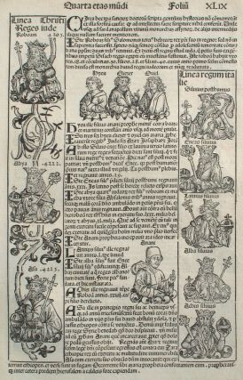Liber chronicarum- Nuremberg Chronicle, an individual page from the Chronicle featuring lineage...