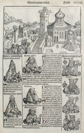 Liber chronicarum- Nuremberg Chronicle, an individual page from the Chronicle featuring King...
