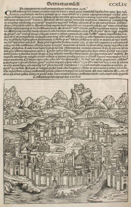 The Siege of Constantinople in the Year 1453, from the Nuremberg Chronicle. Woodblock. Hartmann...