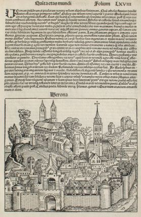 Verona, Italy in the Liber chronicarum- Nuremberg Chronicle, an individual page from the...