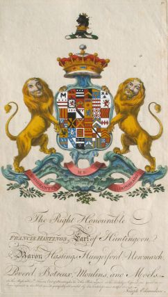 Family Crest of The Right Honourable, Francis Hastings, Earl of Huntington, Baron Hastings,...