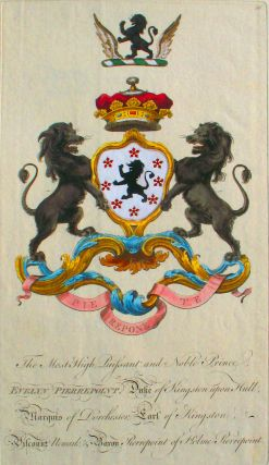 Family Crest of The Most High, Puissant, and Noble Prince, Evelyn Pierrepoint, Duke of Kingston...