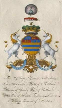 Family Crest of The Most High Puissant & Noble Prince, John Manners, Duke of Rutland, Marquis of...
