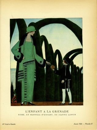 L'Enfant a la Grenade; Robe, et Manteau d'enfant, De Jeanne Lanvin. Print from the Gazette du Bon...
