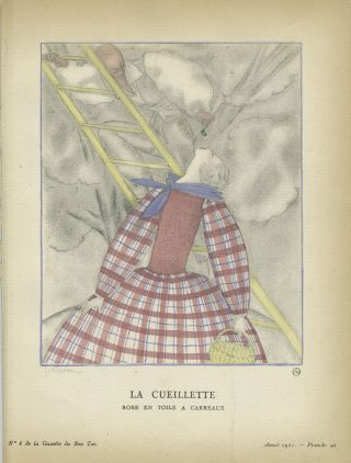 La Cueillette, Robe en Toile a Carreaux; Print from the Gazette du Bon Ton
