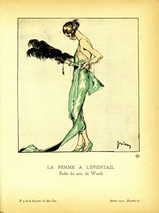 La Femme a L'Eventail, Robe du soir, de Worth; Print from the Gazette du Bon Ton. Worth