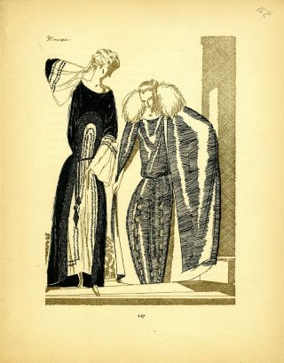 Two Ladies; Print from the Gazette du Bon Ton