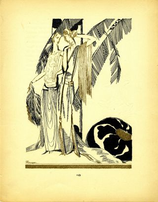 Two Ladies with Palm Trees; Print from the Gazette du Bon Ton