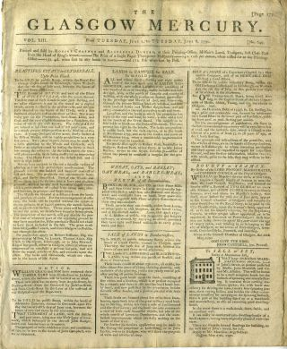 The Glasgow Mercury, 1790: Navigation of the Mississippi River; Falkland Islands and Whaling....