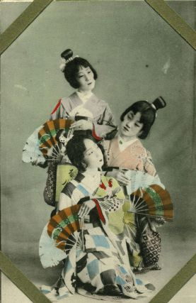 24 Unused Hand Colored Postcards, young apprentice Japanese Geisha & Japanese Views of Kobe,...