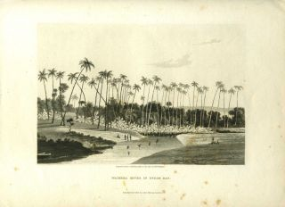 Waikeea River in Byron Bay. Aquatint depicting Hawaiian natives of Byron Bay (Hilo Bay) fishing...