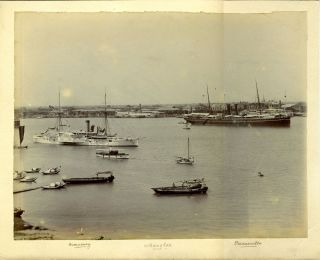Albumen photograph of Shanghai with American Civil War gunboat USS Monocacy, with the British P & O Parramatta. China; Boxer Rebellion.