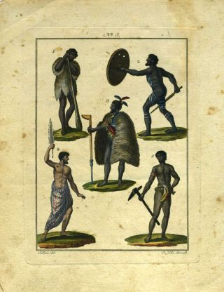 Hand colored engraving with 5 figures of South Pacific natives and an Australian Aborigine, after an image in Parkinson's Journal of a Voyage to the South Seas. Australian Aborigines.
