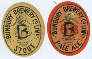Bunbury Brewery Co. Perth, Australia. A Pair of Beer Labels for Pale Ale and Stout. Western...