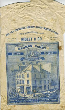 Ridley & Co. candy packaging with engraving of the original store at Chambers & Hudson Streets,...