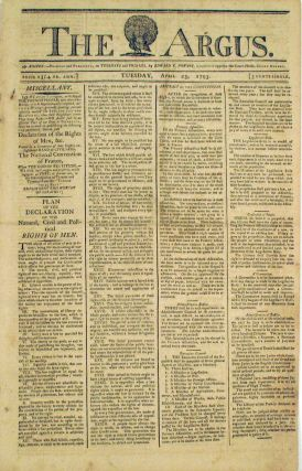The Constitution of France 1793 in the Argus, Boston, April 23, 1793