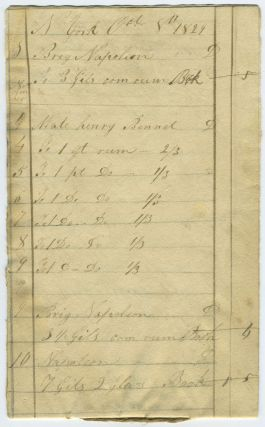 "1829 New York City Rum Merchant ledger: sales of rum to brig ""Napoleon"""
