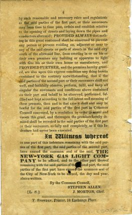 Printed Indenture granting the exclusive right to lay pipes for gas lighting in New York City....