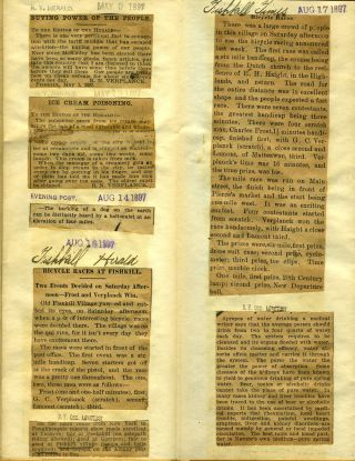 Fishkill NY 1893 - 1895 Newspaper Clippings compiled by Gulian Crommelin Verplanck.
