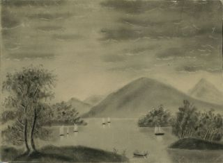 Hudson River School Charcoal on Sand Paper Painting