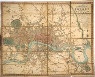 A New Map of London and its Environs, from an Original Survey Extending 8 miles east and west 6...