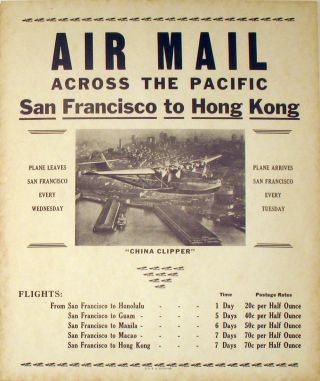 The first Air Mail trans-Pacific flights: 'Air Mail Across the Pacific, San Francisco to Hong Kong'. A Pair of posters.
