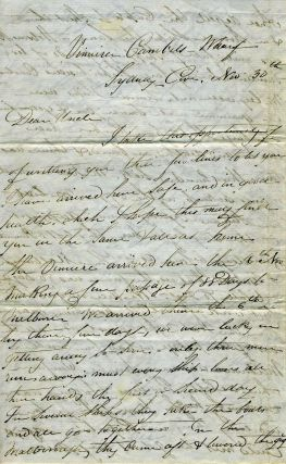 Digger's letter home from Campbell's Wharf, Sydney with news of Melbourne, ALS.