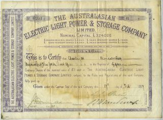 Australasian Electric Light, Power & Storage Company Share Certificates 1887