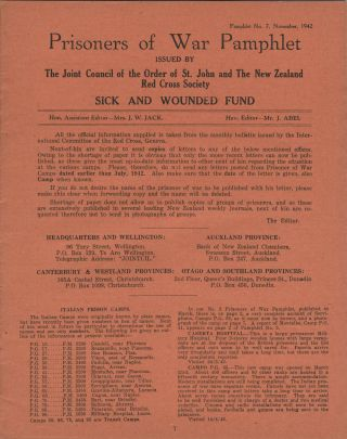 New Zealand Prisoners of War, Pamphlets. Order of St. John, The New Zealand Red Cross Society.