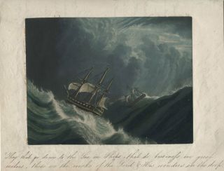 Aquatint of storm-tossed ships with manuscript caption