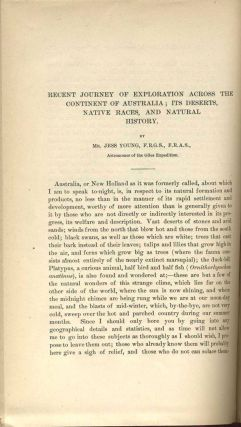 Recent Journey of Exploration Across the Continent of Australia [Journal of the American Geographical Society of New York, Volume X, 1878].