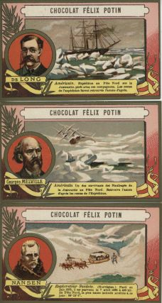 Chocolat Felix Potain cards featuring Three Unusual Explorers: DeLong, Melville and Nansen
