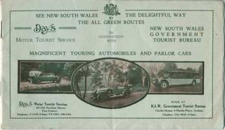 Day's Motor Tourist Service, in conjunction with N.S.W. Govt. Tourist Bureau. See New South Wales the Delightful Way by The All Green Routes.