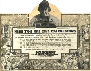Pop up mailer: The Marchant - Here You Are The Last Word in Calculators. Made in America Used...