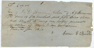 Slave bill of sale, between A. J. Brown and Carrie E. Brown, of Negro Man George. African...