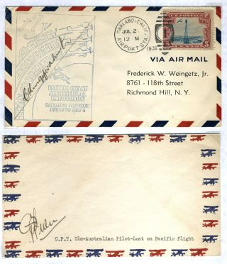 First Aviators to Cross Pacific: Kingsford Smith signed cover [with] CPT Ulm signed cover....