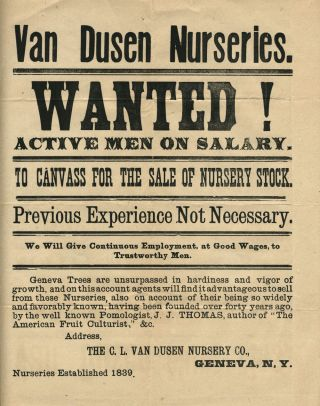 C. L. Van Dusen Nurseries, Geneva NY: Broadside seeking salesmen [with] advertisement and envelope. Broadside; Landscape Architecture.