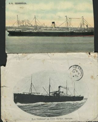"S.S. ""Irishman"" at Outer Harbor, Adelaide - two printed images."