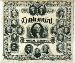 Bank Note Engraving: Centennial, Great Falls Co. 1776-1876 Trade Mark