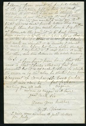 Civil War Letter, describing soldier's situation with the 14th Mass.