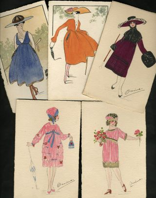 Art Deco hand-painted French Fashion postcards. Postcards