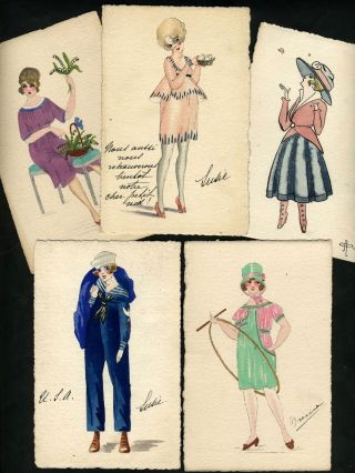 Art Deco hand-painted French Fashion postcards.