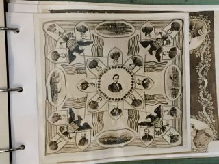 An incomparable collection of photographs of American Historical & Political Handkerchiefs.
