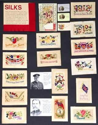 Collection of unusual World War I French Silk postcards, including two portrait silks of General...