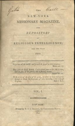 The New York Missionary Magazine and Repository of Religious Intelligence; for the Year 1800.