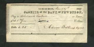 1836 - 1839 Ledger Book Bank of Newburgh NY, of Aaron Belknap [with] check dated 1839.