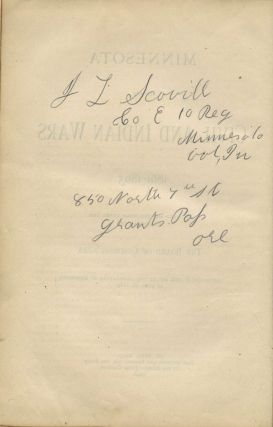 Minnesota Civil War veteran's copy of 'Minnesota in the Civil and Indian Wars 1861 - 1865' Vol. I [with] pension application forms.