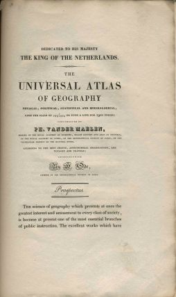 Prospectus for The Universal Atlas of Geography: physical, political, statistical and mineralogical...