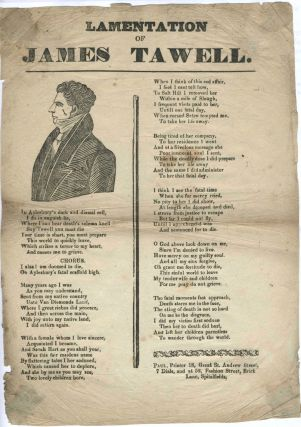 Convict Broadside: Lamentation of James Tawell.